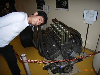 Mr. Tamura with a Nissan V12 race engine