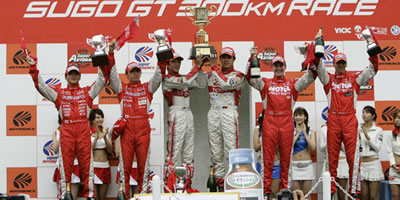The Super GT race podium at the Sugo circuit in Sendai.