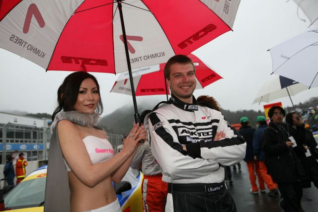 Igor Sushko at Super GT GT300 Rd.1 Okayama with race queen