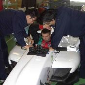Igor Sushko test-fitting the Formula Challenge Japan (FCJ) open-wheel racecar.