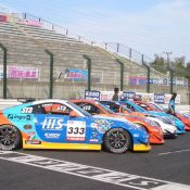The all-Nissan Z photoshoot at Suzuka Circuit. The front car is the H.I.S. sponsored Nissan Fairlady Z Z33 driven by Maejima Shu