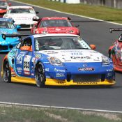 Parade lap for the Super Taikyu series at Okayama Circuit. The H.I.S. Nissan Fairlady Z, piloted by Igor Sushko and Maejima Shyu