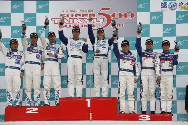 The #15 Okabe Jiodsha Dixcel Nissan Z on the podium of the season opener at Suzuka 500km. Drivers: Igor Sushko, Nagashima Masaak