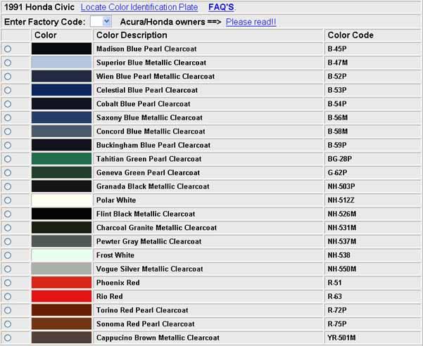 Codes Couleurs Honda, 88-91